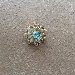 Gold Blue Vintage Jeweled Brooch Pin